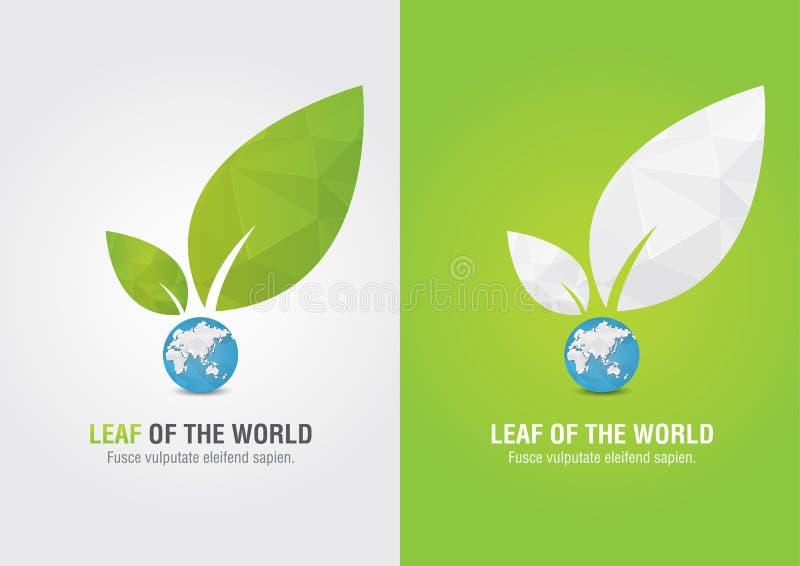 Liść świat Eco wolontariusza ikona Dla zielonego biznesowego soluti ilustracji