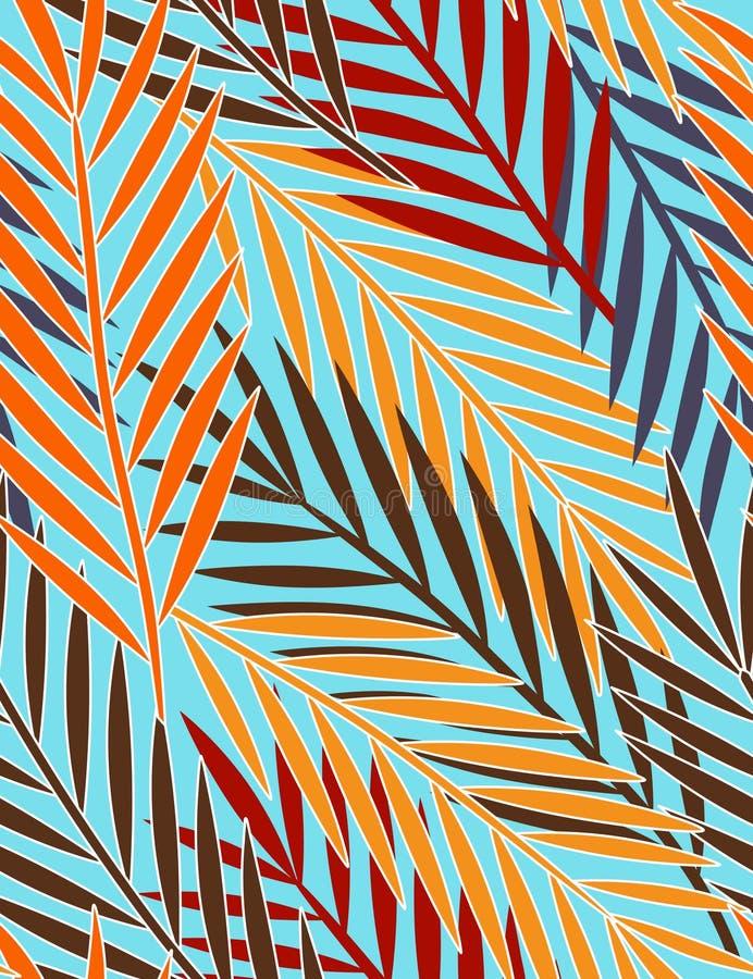 liść deseniują bezszwowy tropikalnego ilustracja wektor