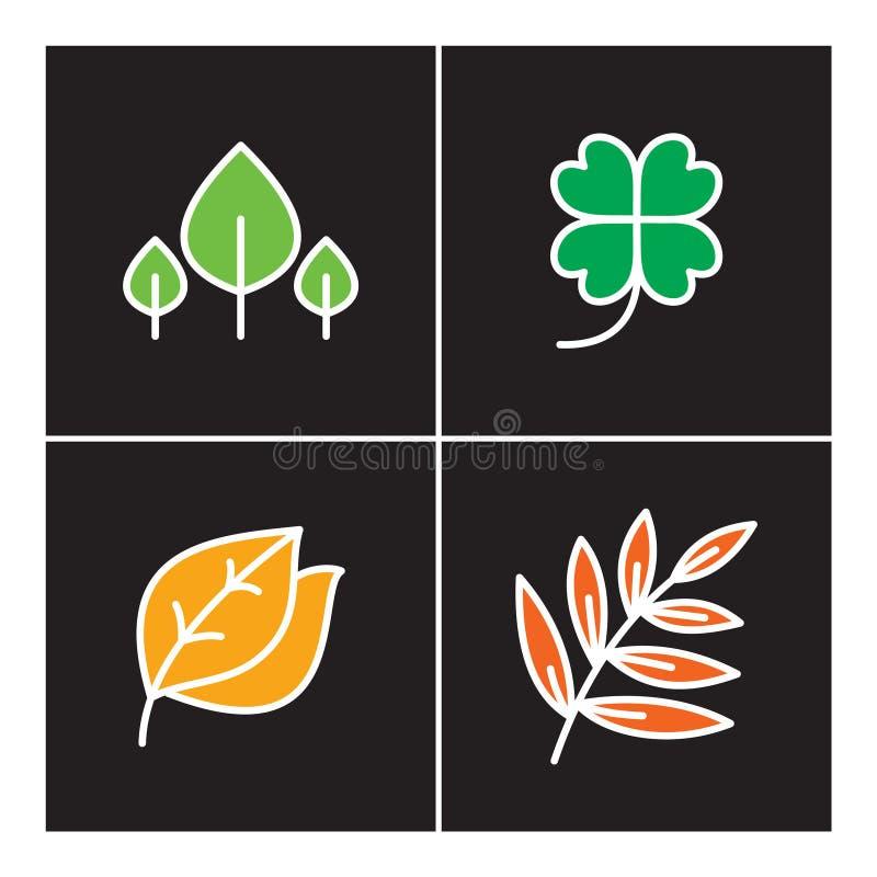 Liść, ikona, linia, roślina, kontur, set, natura, drzewo, ikony, projekt, symbol, znak, logo, przyrost, ilustracja, kwiat, orga ilustracji