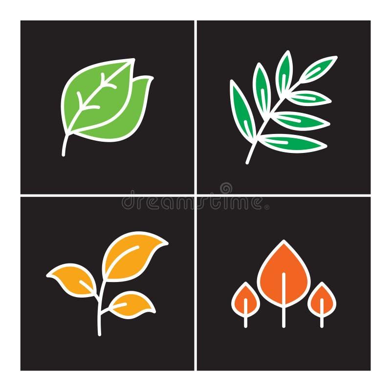 Liść, ikona, linia, roślina, kontur, set, natura, drzewo, ikony, projekt, symbol, znak, logo, przyrost, ilustracja, kwiat, orga royalty ilustracja