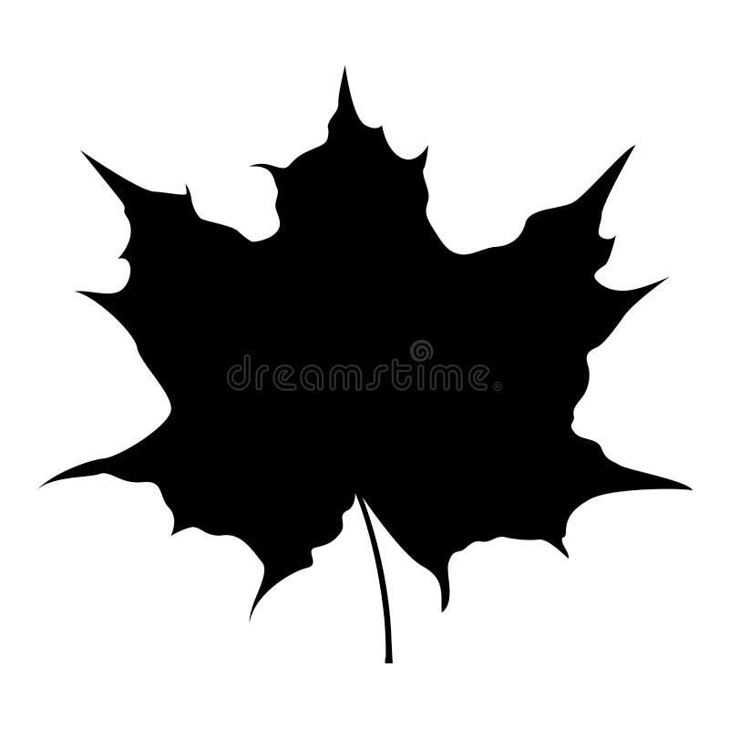 Liść klonowy sylwetki ikony czerni koloru ilustracja royalty ilustracja