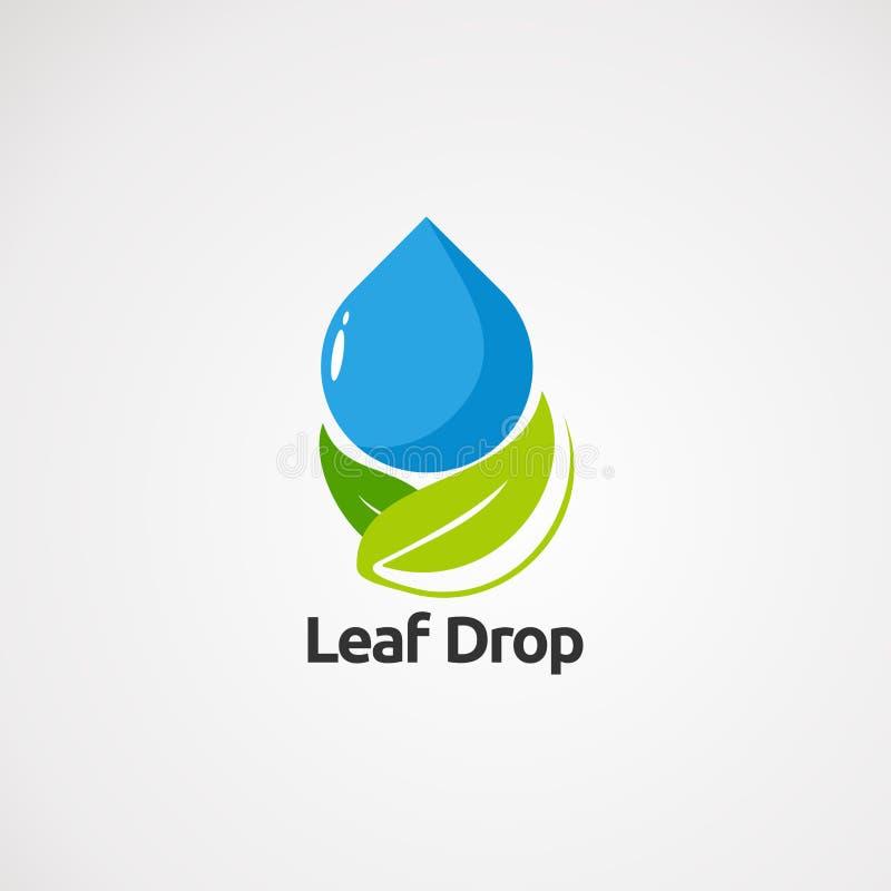 Liść kropla z wektorem, ikoną, elementem i szablonem dla firmy czystymi pojęcie logo, ilustracja wektor