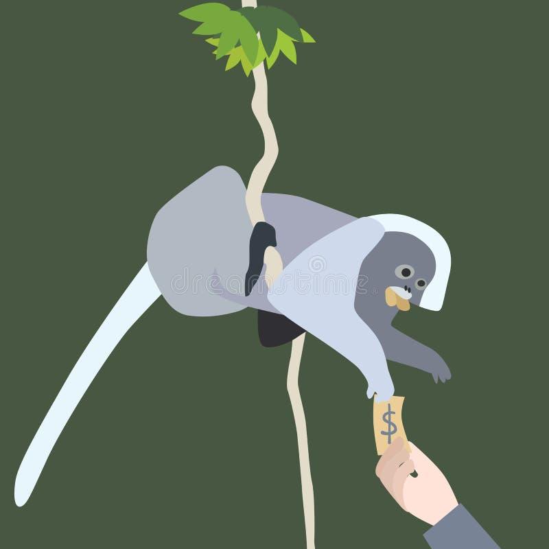 Liść małpa ilustracja wektor
