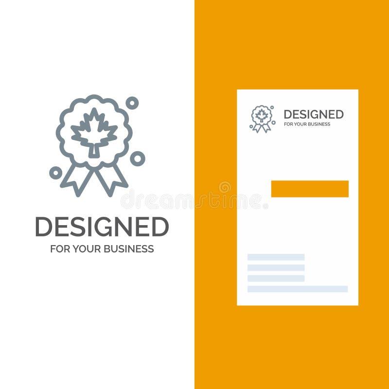 Liść, nagroda, odznaka, ilość logo Popielaty projekt i wizytówka szablon, ilustracji