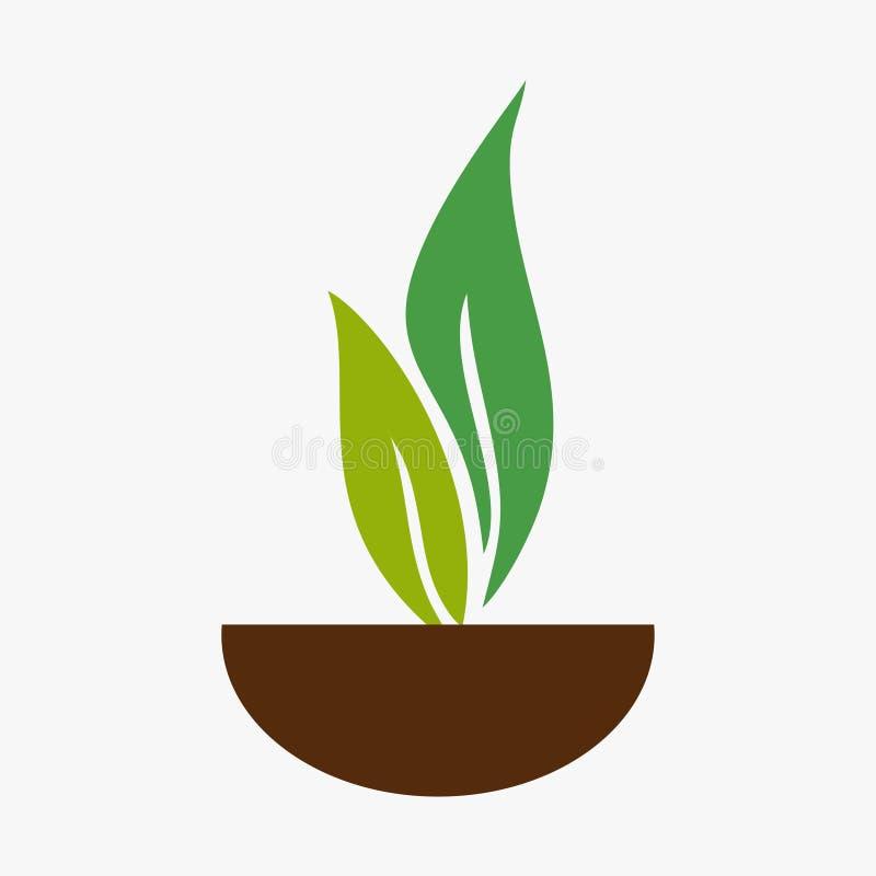 Liść, roślina, logo, ekologia, ludzie, wellness, zieleń, liście, natura symbolu ikona ustawiająca projekty ilustracja wektor