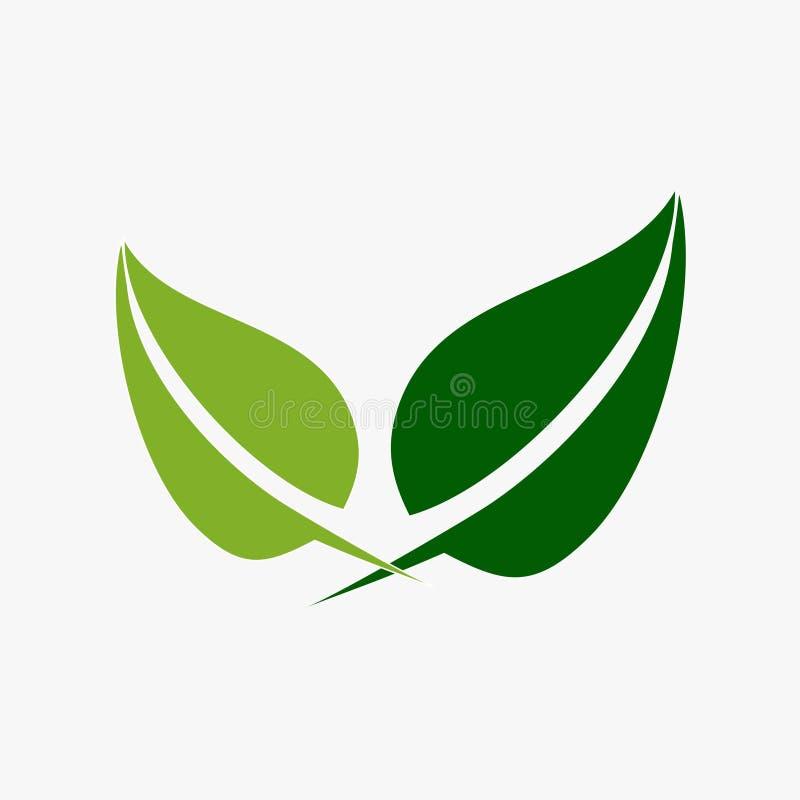 Liść, roślina, logo, ekologia, ludzie, wellness, zieleń, liście, natura symbolu ikona ustawiająca wektorowi projekty ilustracja wektor