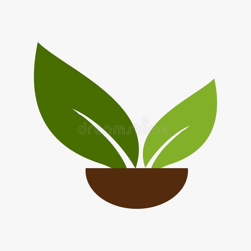Liść, roślina, logo, ekologia, ludzie, wellness, zieleń, liście, natura symbolu ikona ustawiająca wektorowi projekty royalty ilustracja