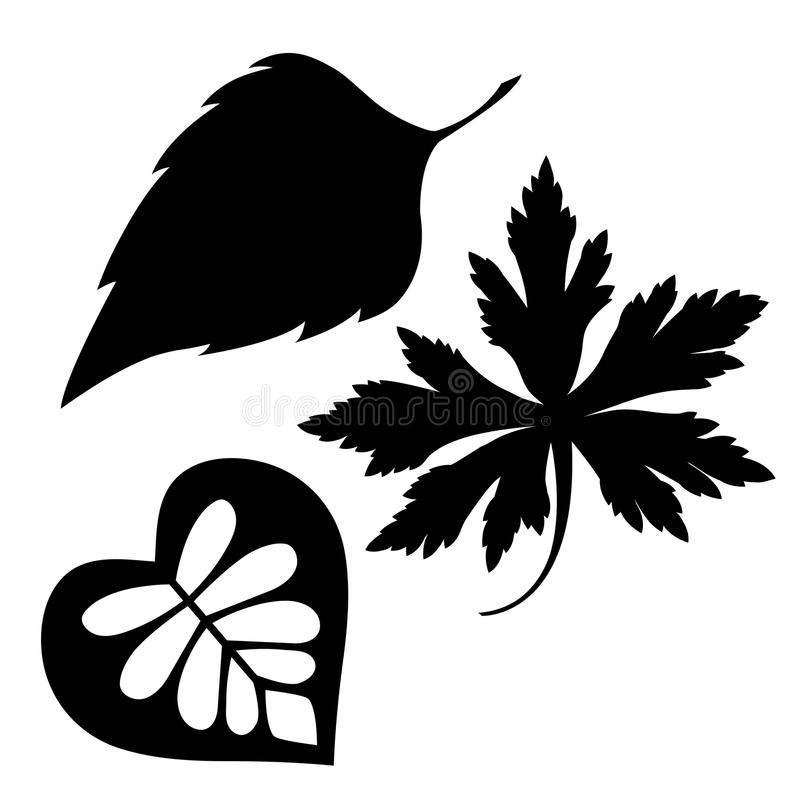 Liść sylwetki ustalony wektor na białym tle, liście, rośliny fotografia stock