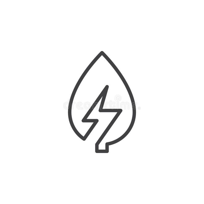 Liść z błyskawicowego rygla linii ikoną, konturu wektoru znak, liniowy stylowy piktogram odizolowywający na bielu ilustracja wektor