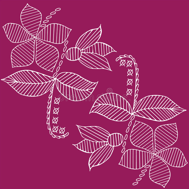 Liści i kwiatów wzór wręcza patroszoną kreślącą ilustrację ilustracja wektor