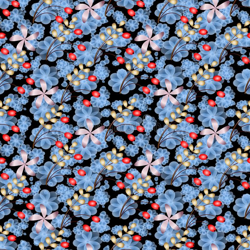 Liści kwiatów i jagod Abstrakcjonistycznego Raster Bezszwowy tło zdjęcie stock
