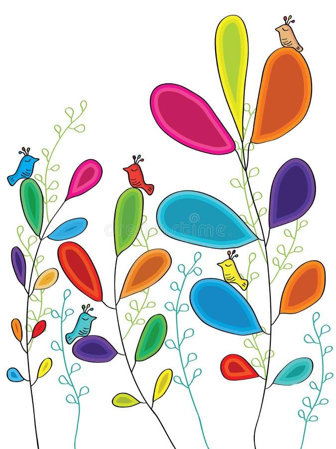 Liści ptaków styl ilustracja wektor