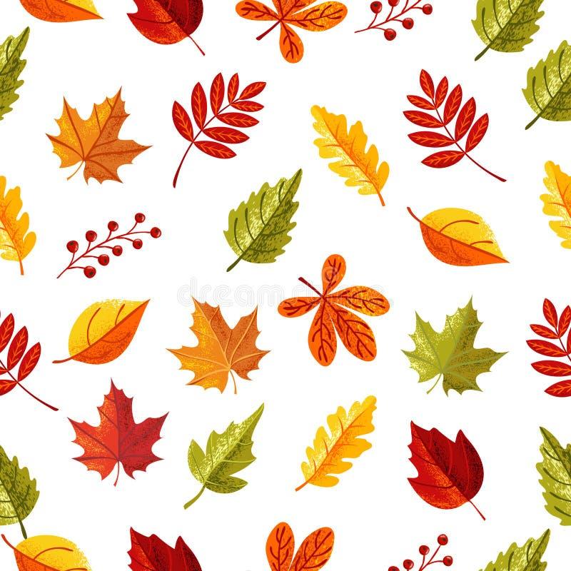 Liścia bezszwowy wzór w jesień sezonie ilustracja wektor