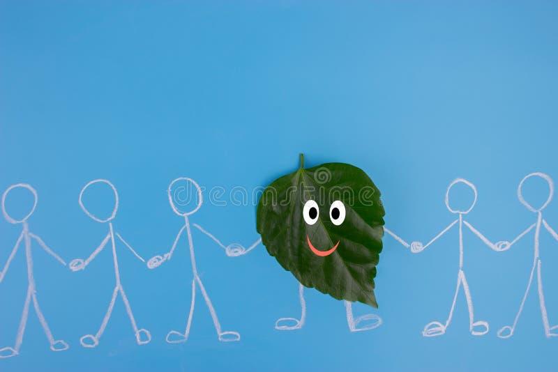 Liścia charakter trzyma Hans z ludźmi ilustracja wektor
