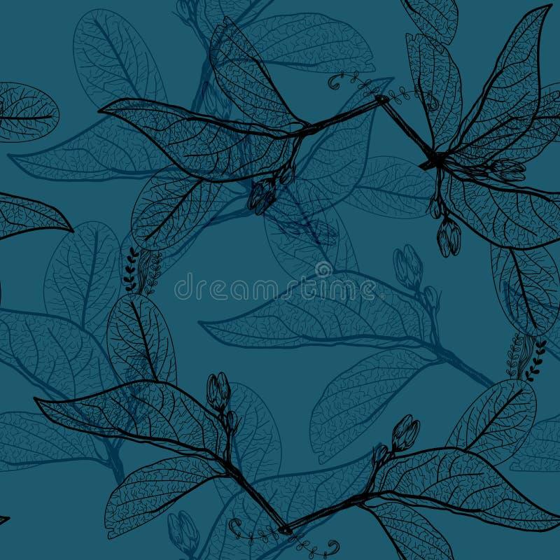 Liścia czerni kontury na ciemnym kobalt marynarki wojennej królewskiego błękita tle kwiecisty bezszwowy wzór, pociągany ręcznie T ilustracji