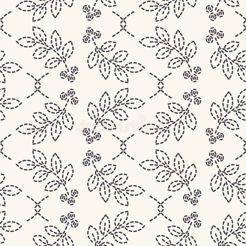 Liścia działającego ściegu broderii wzór Prostego uszycia bezszwowy wektorowy tło Ręka rysująca geometryczna kwiecista mozaiki tk ilustracji