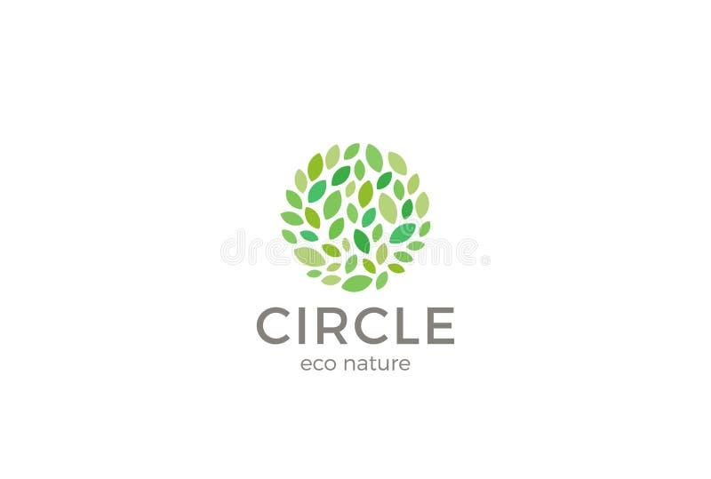 Liścia Eco loga okręgu kształta projekta wektoru szablon Organicznie Naturalny ogródu parka logotyp royalty ilustracja