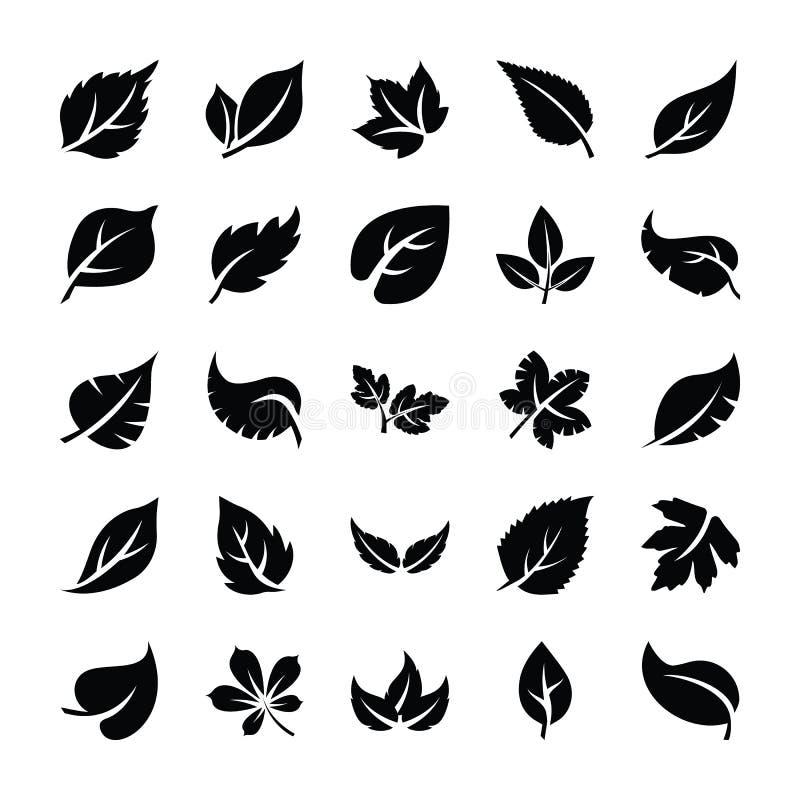Liścia glifu ikony paczka ilustracji