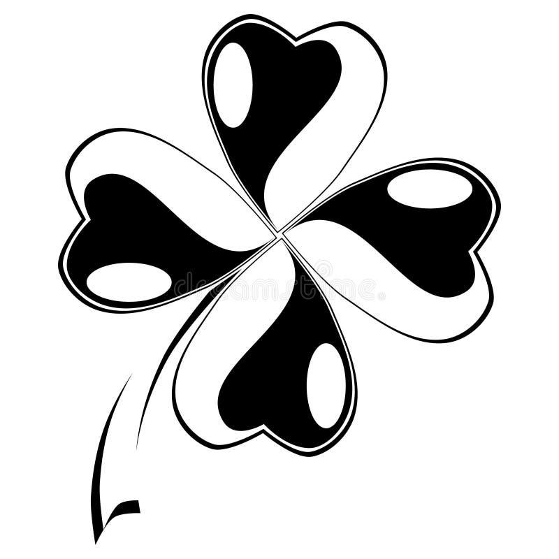 Liścia koniczynowy symbol szczęście ilustracja wektor