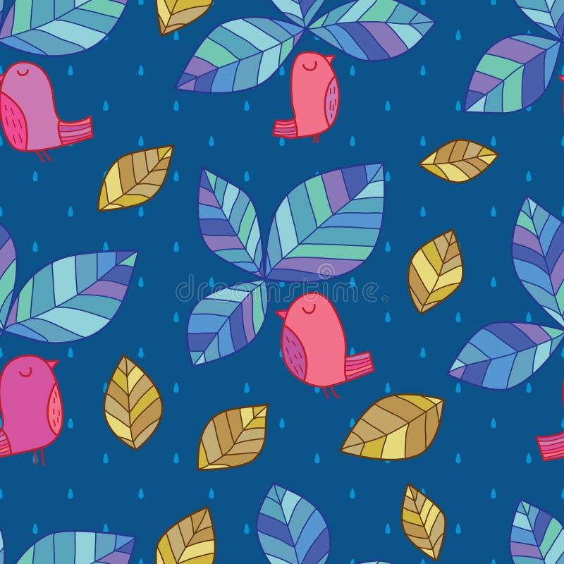 Liścia ptaka wierzchołka stylu bezszwowy wzór ilustracji
