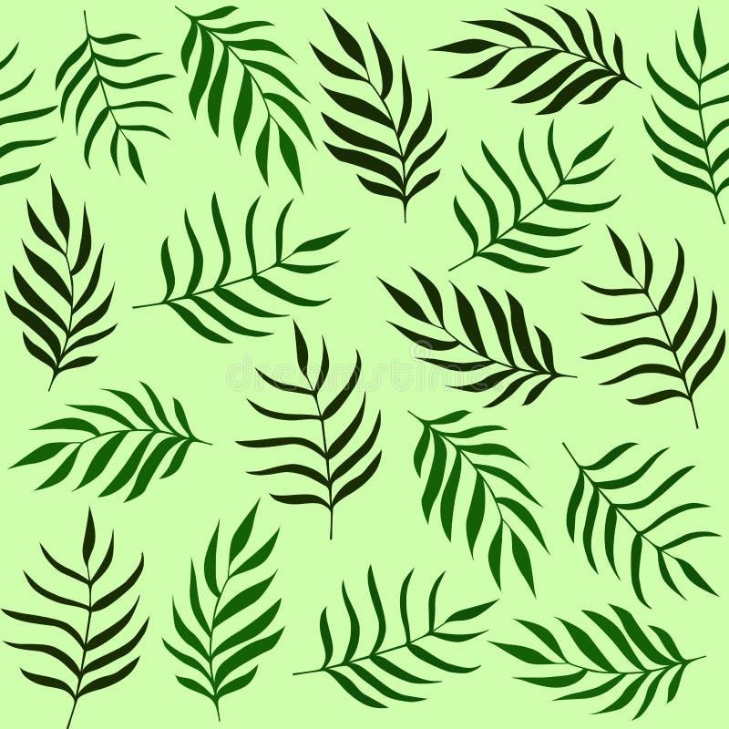 Liścia wzór Tropikalny, ziele tło zielone trawy konsystencja ilustracja wektor
