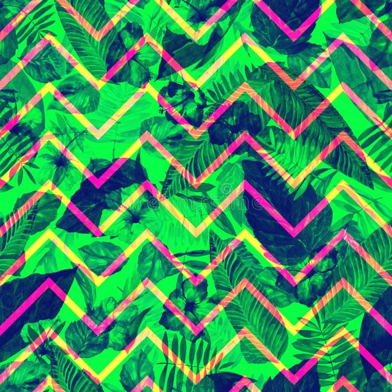 Liście deseniują na zygzakowatym ornamencie Ulistnienia zielony tło beak dekoracyjnego latającego ilustracyjnego wizerunek swój p obrazy royalty free