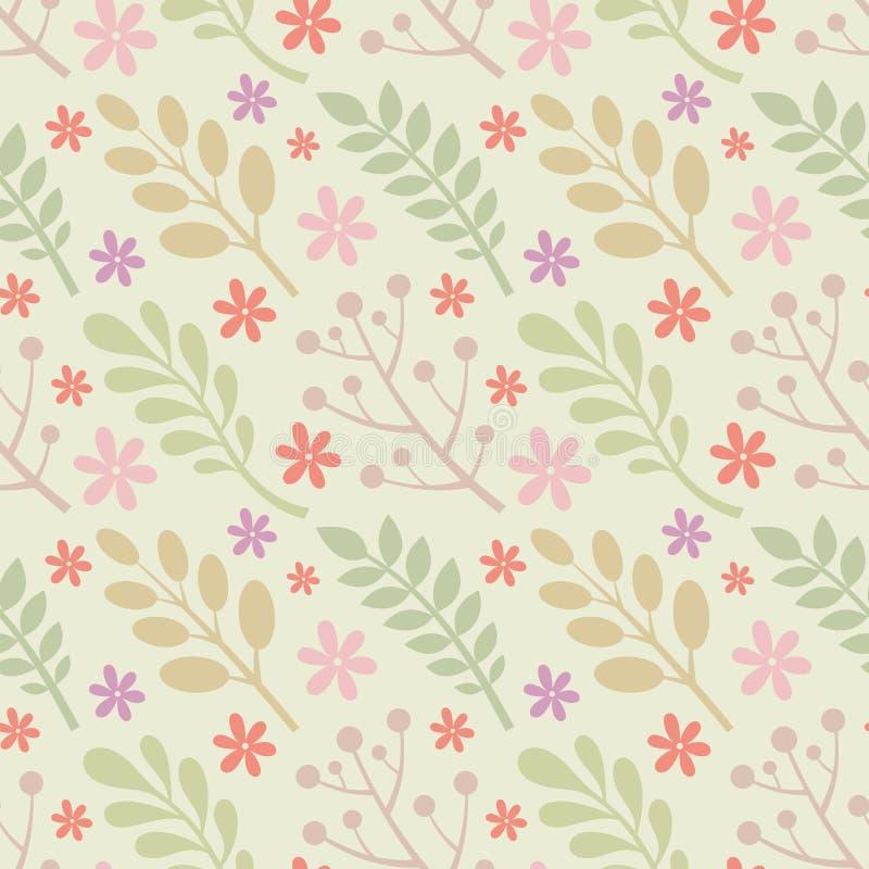 Liście, kwiaty, jagody rośliny - kreatywnie wektorowa ilustracja bezszwowy kwiecisty wzoru tła abstrakcjonistyczny pojęcie grafik royalty ilustracja