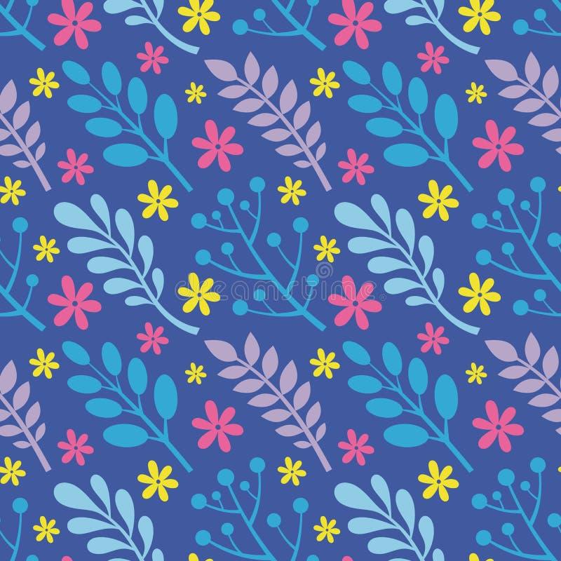 Liście, kwiaty, jagody rośliny - kreatywnie wektorowa ilustracja bezszwowy kwiecisty wzoru tła abstrakcjonistyczny pojęcie grafik ilustracja wektor
