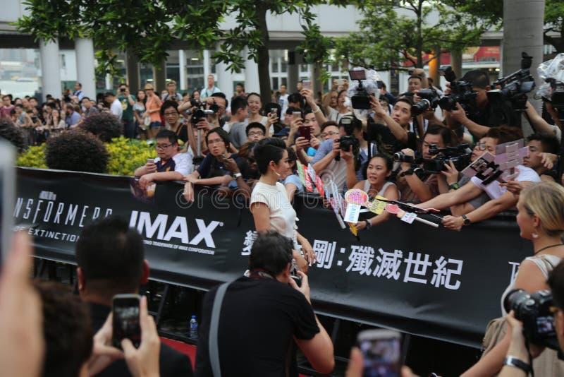 Li Bingbing en el principio de la película de los transformadores imagen de archivo
