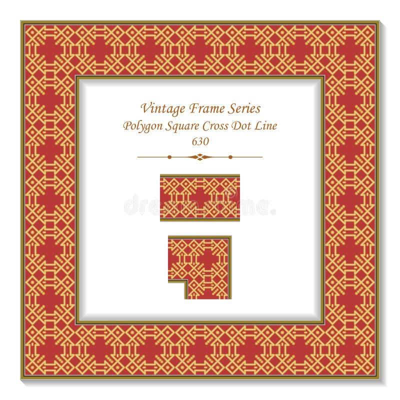 Li de oro del punto de la cruz del cuadrado del control del polígono del marco cuadrado 3D del vintage stock de ilustración