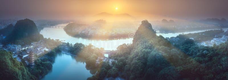 Li krasu i rzeki góry Guilin, Yangshuo obrazy stock