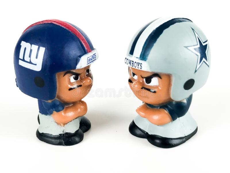 Li`L Teammates Collectibles Toys, NY Giants v. the Cowboys.  royalty free stock images