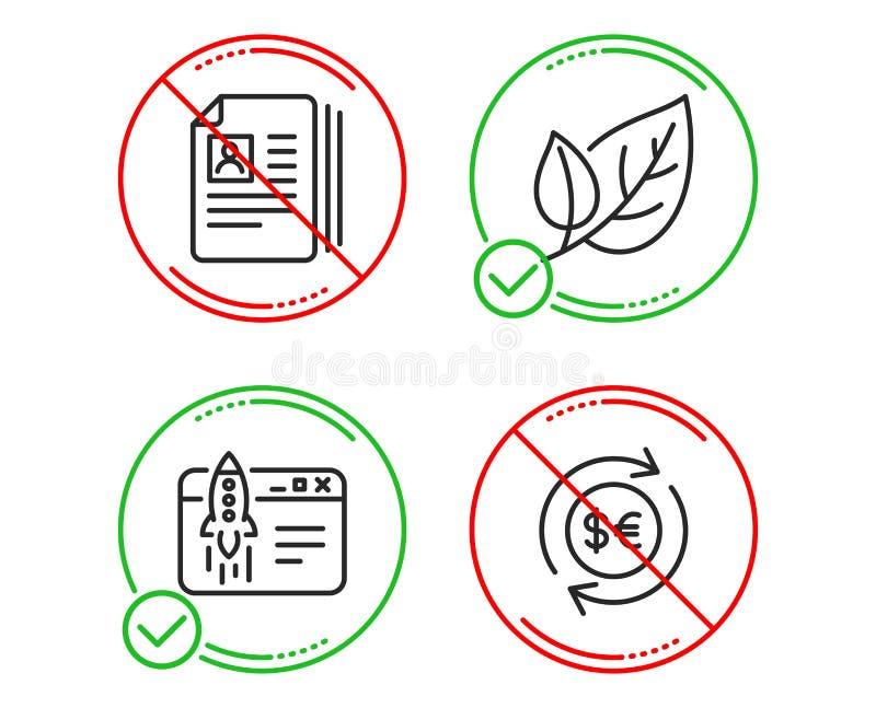 Li??, pocz?tku biznes i Cv dokumenty ikony ustawia?, Pieni?dze waluty znak Ekologia, wodowanie pomys?, portfolio kartoteki wektor ilustracja wektor
