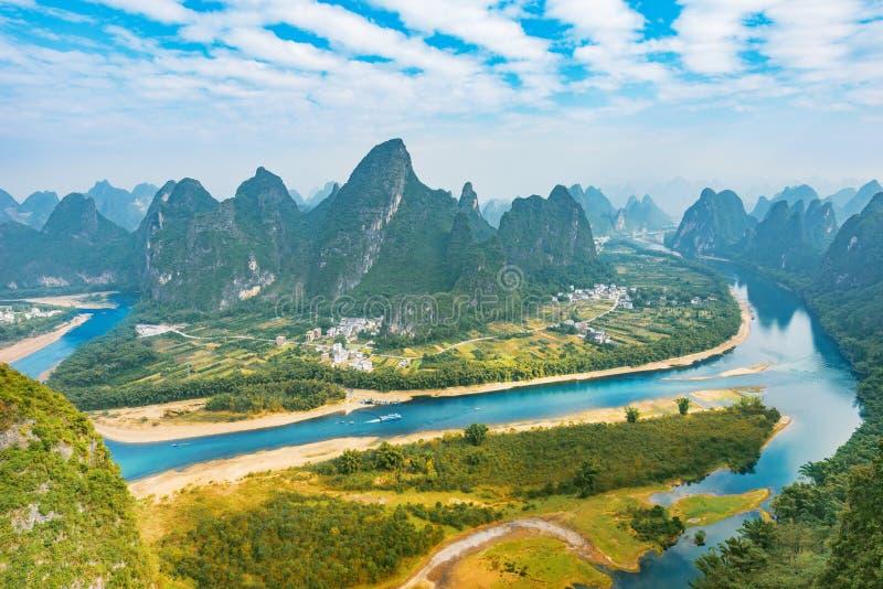 Li River and Karst mountains near Yangshuo. Guangxi Province. China royalty free stock photo