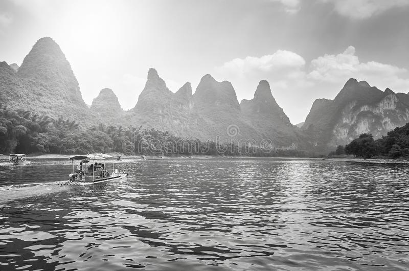Li River landscape with bamboo rafts, China. royalty free stock image