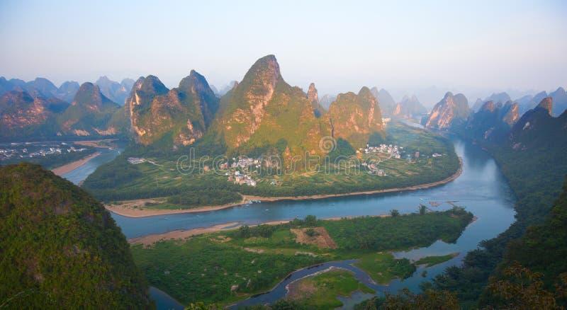 Li River. The Li River or Lijiang is a river in Guangxi Zhuang Autonomous Region, China. It flows 83 kilometres (52 mi) from Guilin to Yangshuo and famous for stock photography