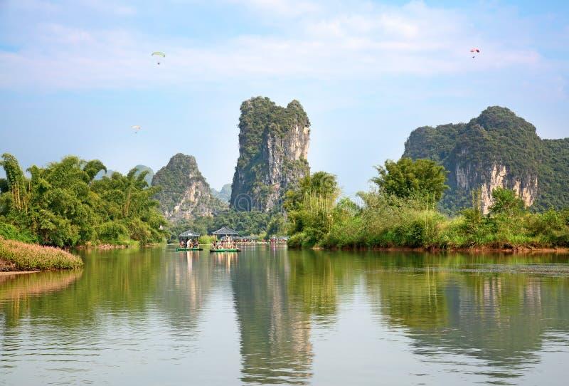Li River. The Li River or Lijiang is a river in Guangxi Zhuang Autonomous Region, China. It flows 83 kilometres (52 mi) from Guilin to Yangshuo and famous for stock image