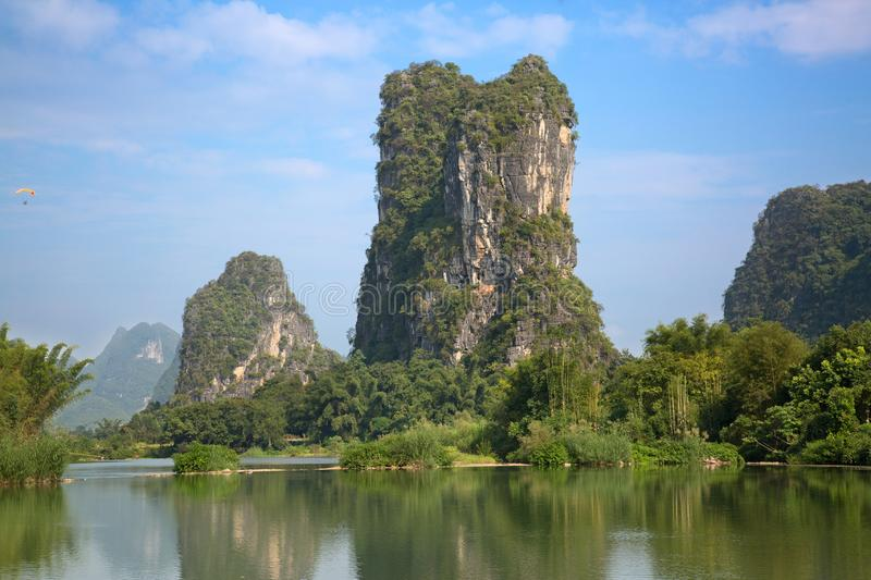 Li River. The Li River or Lijiang is a river in Guangxi Zhuang Autonomous Region, China. It flows 83 kilometres (52 mi) from Guilin to Yangshuo and famous for royalty free stock image