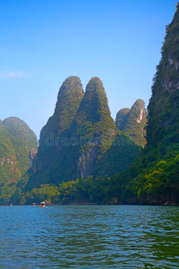 Li River. The Li River or Lijiang is a river in Guangxi Zhuang Autonomous Region, China. It flows 83 kilometres (52 mi) from Guilin to Yangshuo and famous for royalty free stock photos