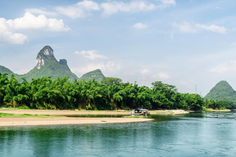 The Li River (Lijiang River) among green bamboo forest, China royalty free stock photo