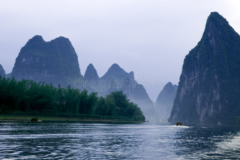 Li river near Yangshuo stock photo