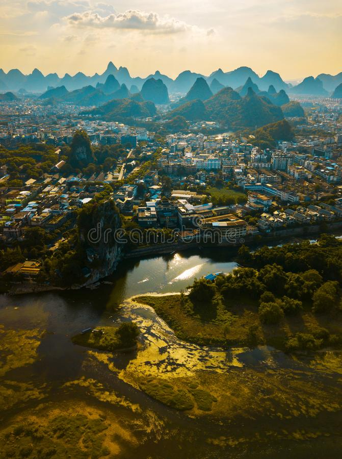 Li river and stunning karst mountains in Guilin China royalty free stock photo