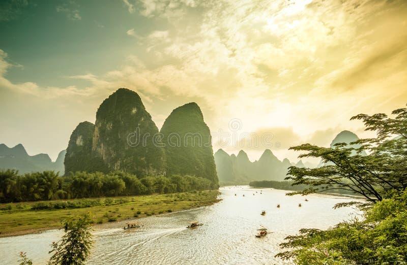 Li river by Yangshuo in China. View on Li river by Yangshuo in China royalty free stock photography