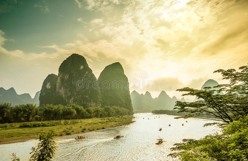 Li rzeka Yangshuo w Chiny fotografia royalty free