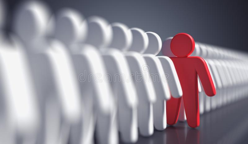 Liadership, difference and standing out of crowd concept. 3D rendered illustration.  vector illustration