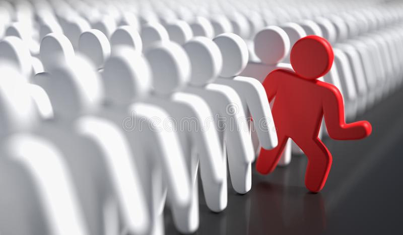 Liadership, difference and standing out of crowd concept. 3D rendered illustration.  stock illustration