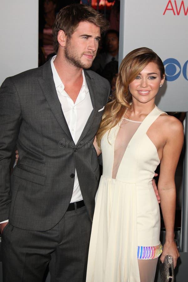 Liam Hemsworth, Miley Cyrus foto de archivo libre de regalías