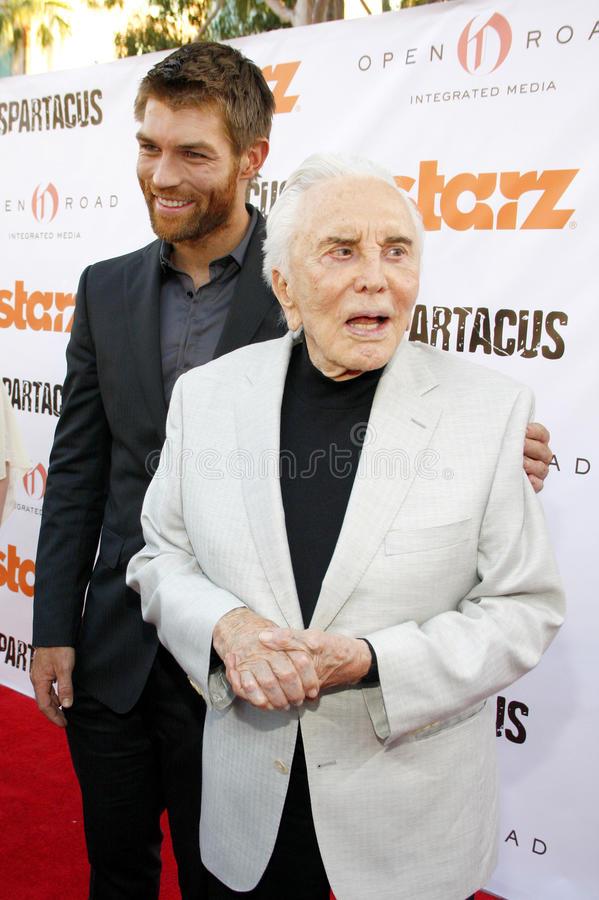 Liam McIntyre and Kirk Douglas stock images