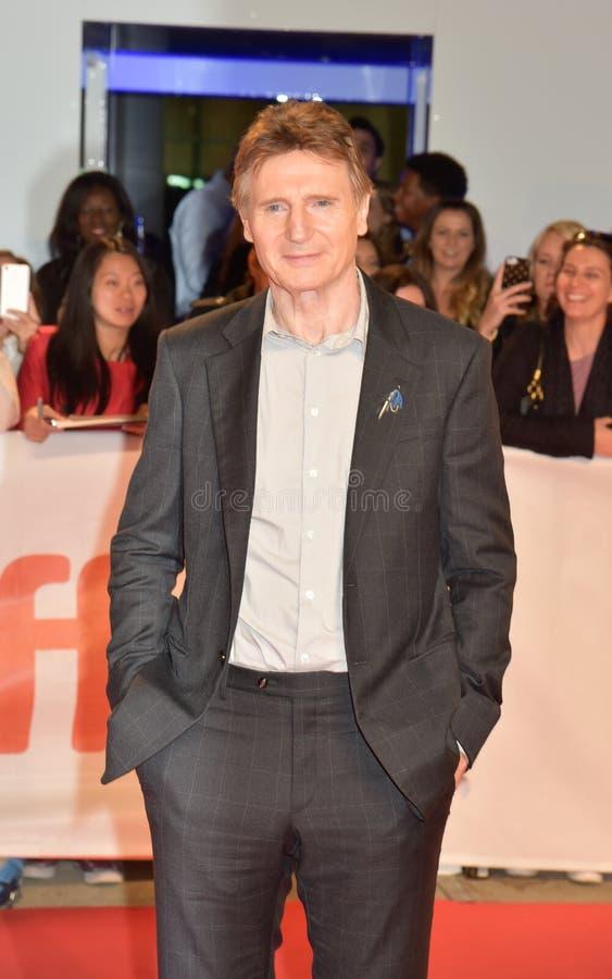 Liam Neeson en la premier del ` de las viudas del ` durante la película internacional 2018 de Toronto Fes imagen de archivo