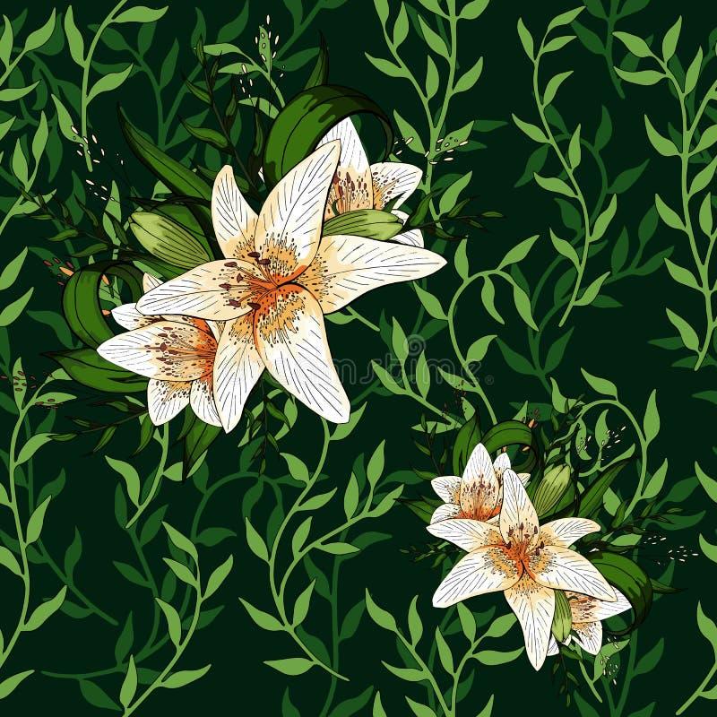 Liane verbreitet grüne Blattkriechpflanze und nahtlosen Musterhintergrund der Lilienblume lizenzfreie abbildung